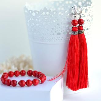 Комплект украшений красные серьги-кисти и браслет