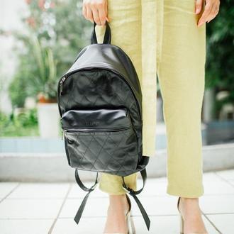 Стильный городской кожаный рюкзак (размер L)
