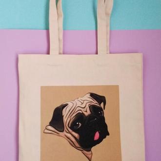 Экосумка мопс, шоппер мопс, екосумка мопс, сумка мопс, экосумка собака, торба мопс, авоська