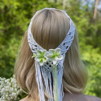 свадебные аксессуары для волос, диадема для волос, свадебный бохо венок на голову, аксессуары бохо