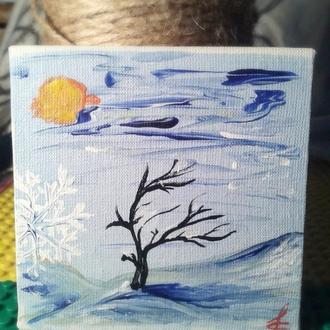Картина 10*10см. живопись. Зима....