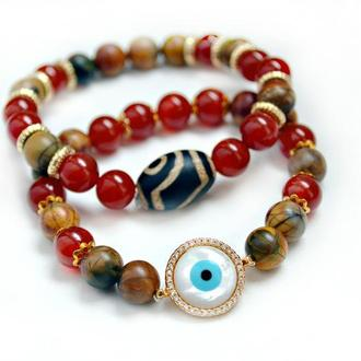 Комплект браслетов из Сердолика и Яшмы