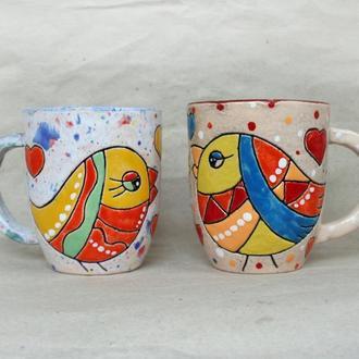 керамічні горнята з пташками