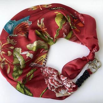 """""""Цветущие гранаты"""" шелковый шарф, атласный платок, шарф-колье, шарф-чокер, шейный платок"""