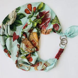 """Шелковый платок """"Завтрак у Тиффани"""", атласный платок, шарф-колье, шарф-чокер, шейный платок"""