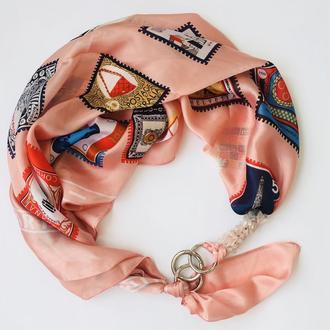 """Шелковый платок   """"Персиковый уикенд"""", Атласный шарф, атласный платок, шарф-колье, шейный платок"""