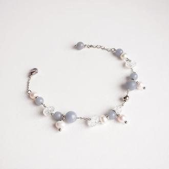 Браслет из ангелита, жемчуга и горного хрусталя  (модель № 283) JK jewelry
