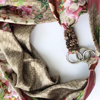"""""""Нежная сакура"""" атласный  шарф, атласный платок, шарф-колье, шарф-чокер, шейный платок"""