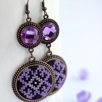 Сережки з вишивкою Фіолет