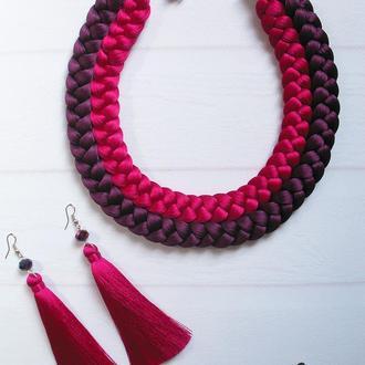 Шёлковый комплект двойная коса, цвет фуксия + баклажан
