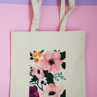 Эко-сумка Киев, экосумка цветы киев, шоппер цветы киев, екосумка квіти, авоська киев, торба пионы