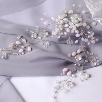 Свадебная веточка. Украшение для волос. Веточка в прическу. Свадебный веночек. Венок для невесты.