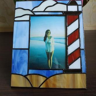 Фоторамка из витражного стекла Морская