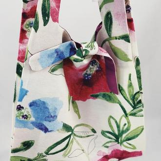 Тканевая сумка, эко-сумка. Сумка для покупок, шоппер, авоська, торба. Сумка с цветами. Белая сумка.