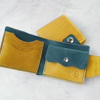 Кожаный мужской кошелек на кнопке - Женский кошелек