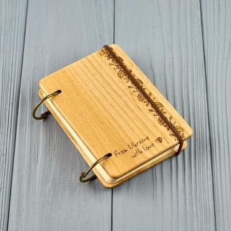 """Карманный блокнот из дерева формат А7 на кольцах """"Украинский орнамент"""""""