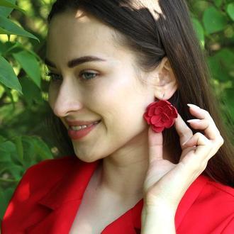 """Большие красные серьги с цветами из полимерной глины """"Готика"""""""