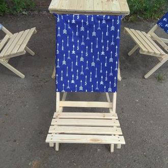 Стул - шезлонг складной деревянный для дачи или пикника