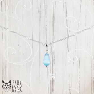 """Sterling silver 925 Срібне кольє підвіска з блакитним котячим оком """"Краплинка"""""""