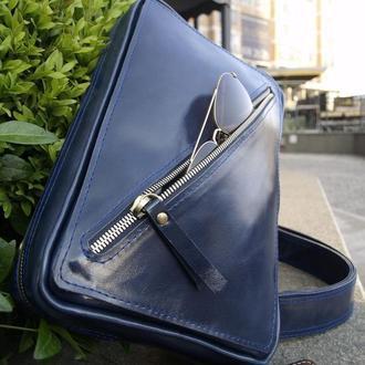 Мужская синяя  сумка-бананка L