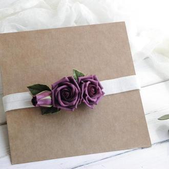 Красивая повязка с цветами, Повязка для малышки с бордовыми розами