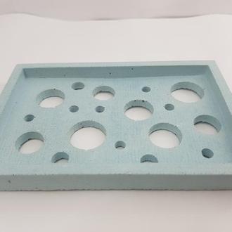 Мыльница из бетона - голубая