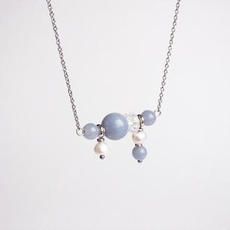 Подвеска из ангелита, горного хрусталя и жемчуга (модель № 284) JK jewelry