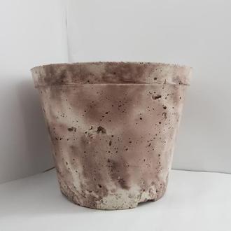 Кашпо из бетона, горшок для цветов из бетона , стиль Loft - белое с коричневым