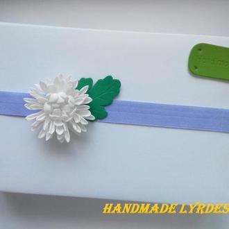 """Повязка для малышки """"Белая хризантема"""""""
