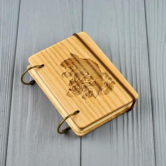 "Карманный блокнот из дерева формат А7 на кольцах ""Рыба"""
