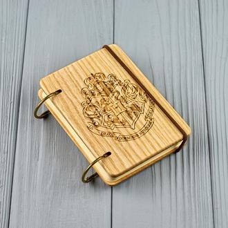 "Карманный блокнот из дерева формат А7 на кольцах ""Гарри  Поттер"""