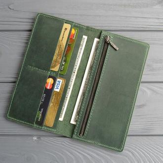 Кожаный кошелек Vinsent. Кошелек-клатч из натуральной кожи, большой кожаный кошелек, портмоне-кейс