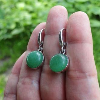 Серебряные серьги с зелёным авантюрином