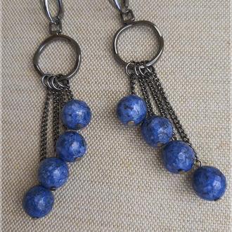 Синие серьги. Длинные серьги. Серьги из натуральных камней. Серьги подвески.