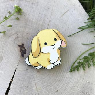 """Значок из дерева """"Кролик"""""""