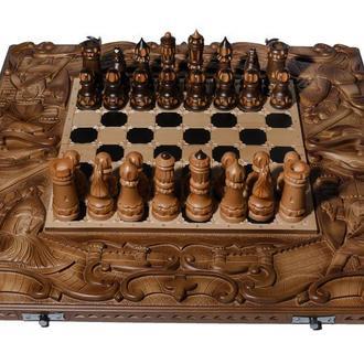 "Шахматы резные ""Рыцари-храмовники"" 3 в 1 (шахматы, нарды, шашки). Подарки"