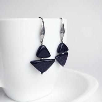 "Серьги из синего авантюрина ""Геометрия"" (модель № 293) JK jewelry"