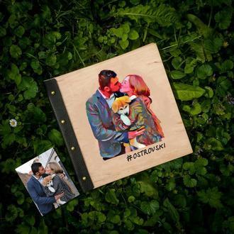 Фотоальбом з Портретом на обкладинці із дерева | Друк фотографій + Безкоштовна доставка