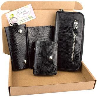 Подарочный набор №27: Кошелек + обложка на паспорт + ключница + визитница (черный питон)