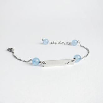 Браслет из аквамарина  (модель № 297) JK jewelry
