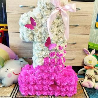 Цифра 1 один 70 см + конвертик и корона на годик, может быть в любом цвете!