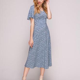 Платье голубое в цветочный рисунок (XS)