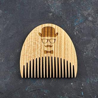 """Гребень для бороды """"Мужчина в шляпе"""" из натурального дерева"""