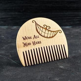 """Гребень для бороды """"Алиса в стране чудес"""" из натурального дерева"""