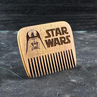 """Гребень для бороды """"Звездные воины"""" из натурального дерева"""