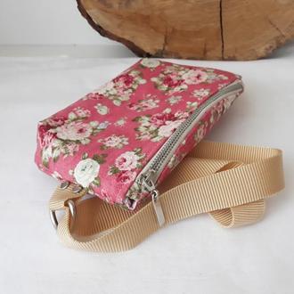 Сумка на пояс текстиль розовые цветы