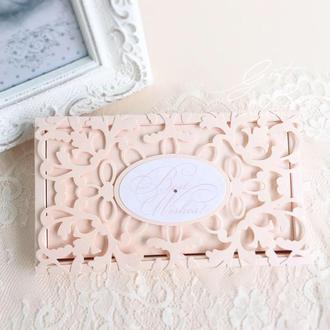 """Gift Box """"Afrodita"""" Цвет 4 (персиковый) - открытка в коробочке"""