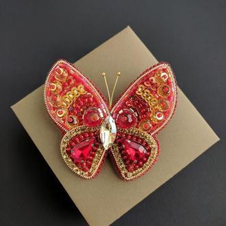 "Брошь ""Красная бабочка"""