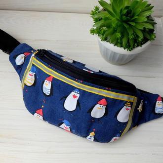 Сумка-бананка с пингвинами, поясная сумка 19//Сумка-бананка з пінгвінами, поясна сумка 19