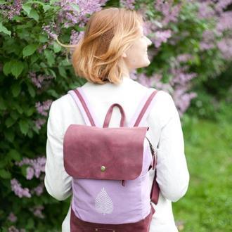 Рюкзак из хлопка и натуральной кожи с  набойкой